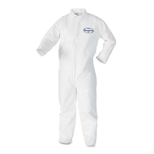 Disposable coveralls a40 liquid and particle protection Kleenguard white zipper front size extra large case of 25 coveralls Kimberly Clark kcc44304
