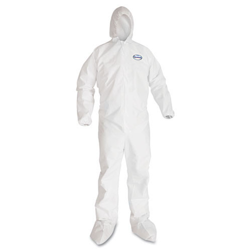 Disposable coveralls a40 liquid and particle protection Kleenguard white zipper front elastic wrists and ankles with hood and boots size extra large case of 25 coveralls Kimberly Clark kcc44334