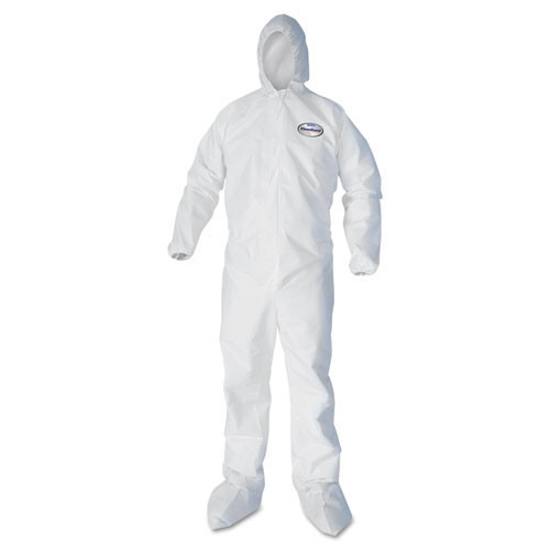 Disposable coveralls a40 liquid and particle protection Kleenguard white zipper front elastic wrists and ankles with hood and boots size 2x large case of 25 coveralls Kimberly Clark kcc44335