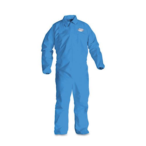 Disposable coveralls a60 bloodborne pathogen chemical splash protection blue zipper front elastic back wrist ankles size 2x large case of 24 coveralls Kimberly Clark kcc45005