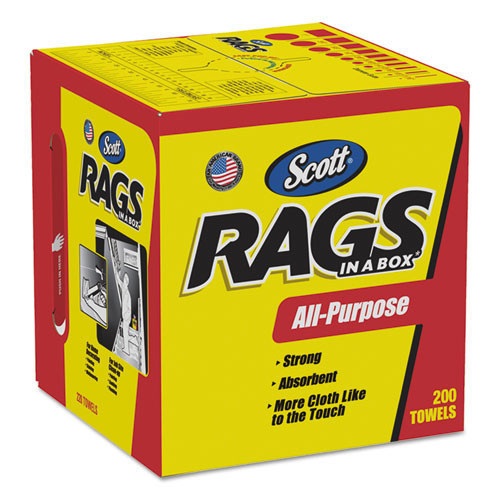 Scott shop towels rag in a box 10x13 sheet size 200 sheets per box case of 8 boxes Kimberly Clark kcc75260ct