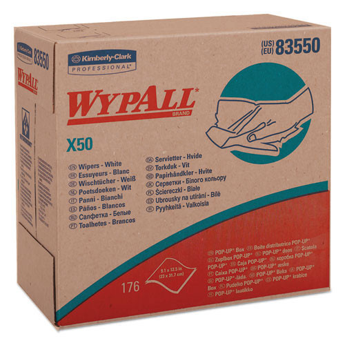 Wypall kcc83550 wipes x50 all purpose white pop up box 9.1x12.5 sheet size case of 1760