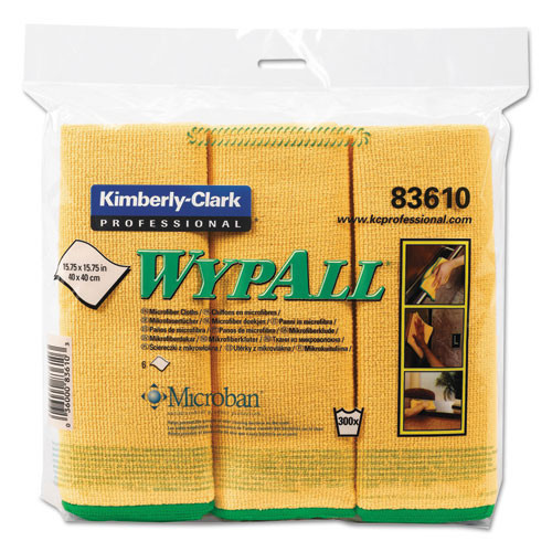 Microfiber cleaning cloths yellow general purpose Wypall microfiber cloths 15.75x15.75 inch case of 24 cloths Kimberly Clark kcc83610ct