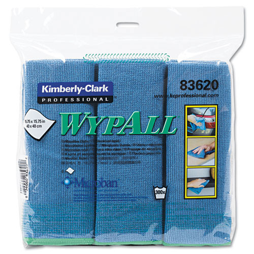 Microfiber cleaning cloths blue general purpose Wypall microfiber cloths 15.75x15.75 inch case of 24 cloths Kimberly Clark kcc83620ct
