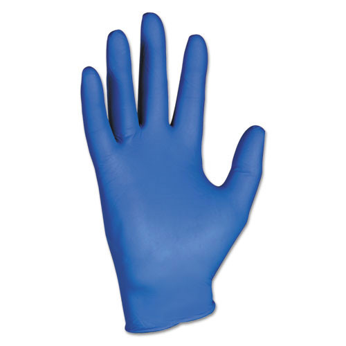 Nitrile gloves powder free large textured fingertips arctic blue Kleenguard g10 dispenser pack of 200 gloves Kimberly Clark kcc90098