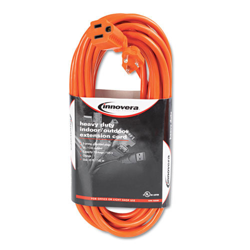 Extention cord indoor outdoor heavy duty 25ft orange 13amps 16 gauge wire replaces Ino72225 Innovera IVR72225