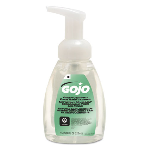Gojo GOJ571506CT green certified foam soap fragrance free clear 7.5 oz. pump bottle