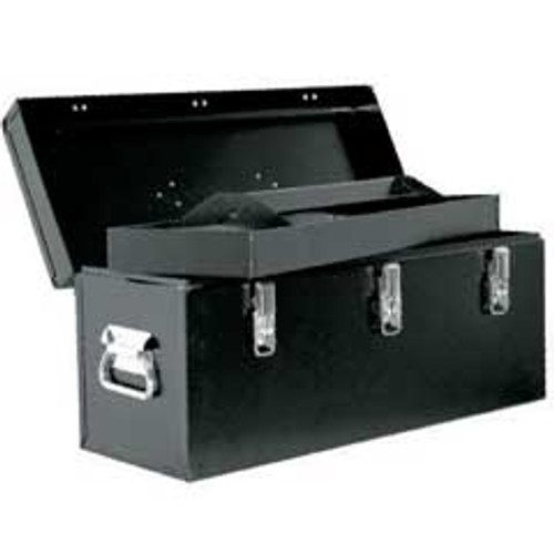 Tool Box Heavy Duty Steel Construction With Removable Tool Tray Black 24 inch Length Floor Dot 120124
