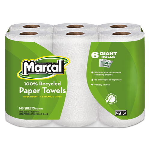 Marcal MRC6181PK 100 percent recycled roll towels 5.5x11 140 roll 6 rolls pack