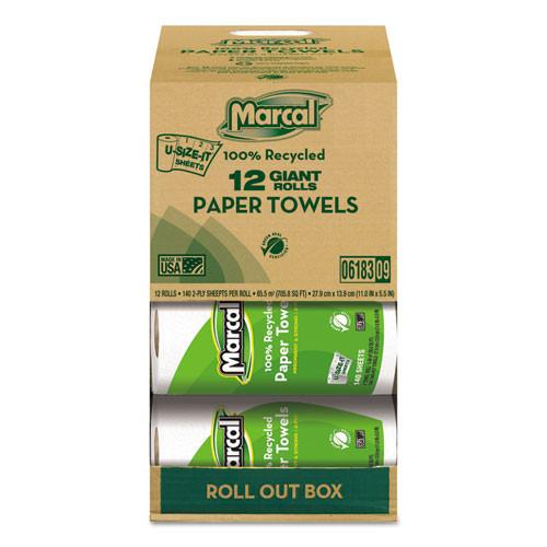 Marcal MRC6183 100 percent recycled roll towels 5.5x11 140 sheets 12 rolls per carton