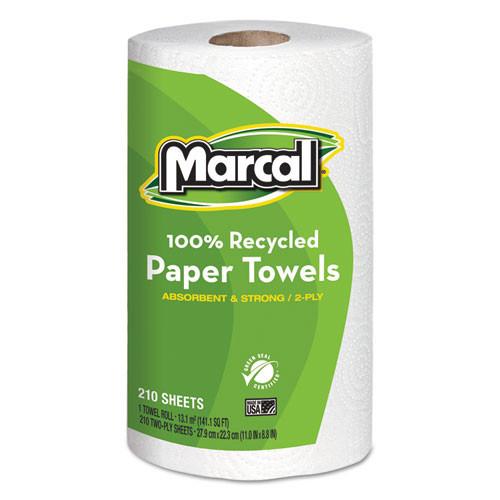 Marcal MRC6210 100 percent recycled roll towels 8.75x11 210 sheets 12 rolls per carton
