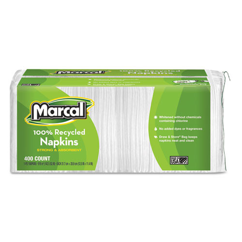Marcal MRC6506 100 percent recycled luncheon napkins 12.5x11.4 white 2400 carton