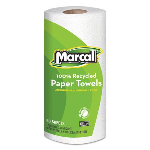 Marcal MRC6709 100 percent recycled roll towels 9x11 60 sheets 15 rolls per carton