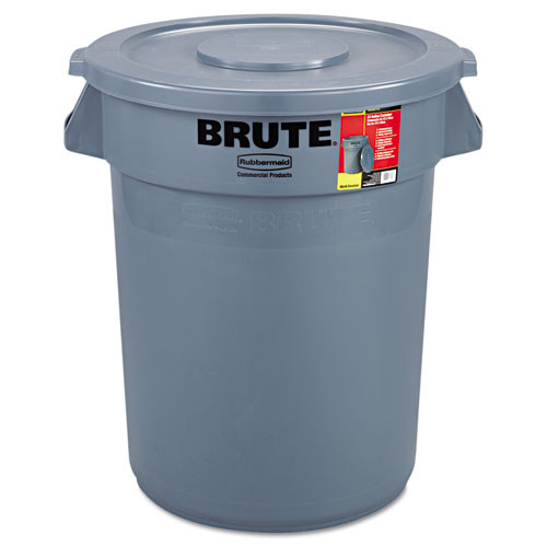 Rubbermaid RCP863292GRA brute container all inclusive round plastic 32gal gray