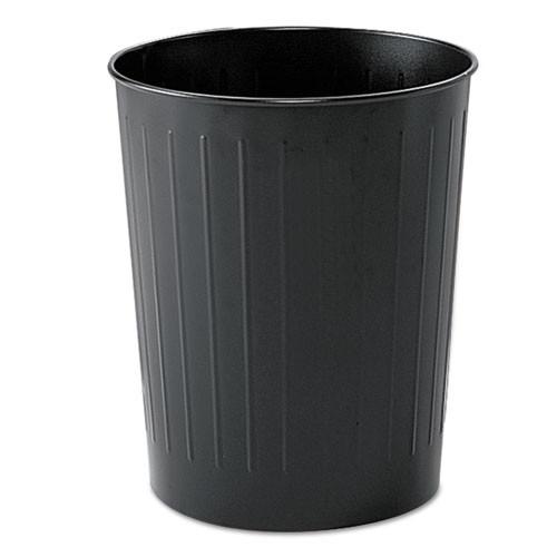 Safco SAF9604BL round wastebasket steel 23.5qt black