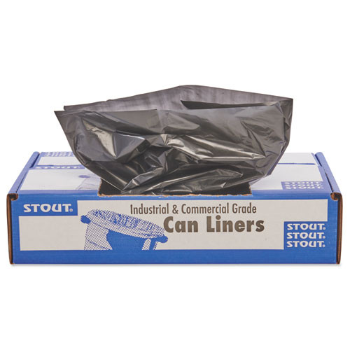 Stout STOT5051B15 100 percent recycled plastic garbage bags 65gal 1.5mil 50x51 brown black 100 ct