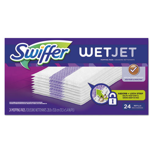 Swiffer PGC08443CT wetjet system refill cloths 11.3x5.4 white 24 box 4 ctn