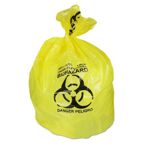 Heritage HERA6043PY 30 gallon trash bags case of 200 yellow biohazard 30x43 linear low 1.30 mil extra heavy duty strength