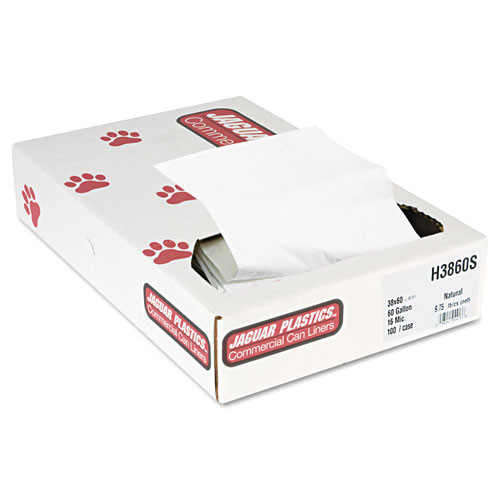 Jaguar jagh3860s 60 gallon trash bags case of 100 natural 38x60 high density 16 mic extra heavy duty strength