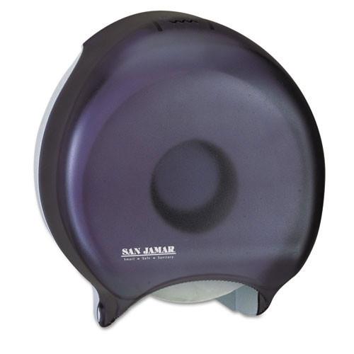 San Jamar SJMR2000TBK jumbo jr roll bathroom tissue dispenser holds one 9 inch roll black plastic
