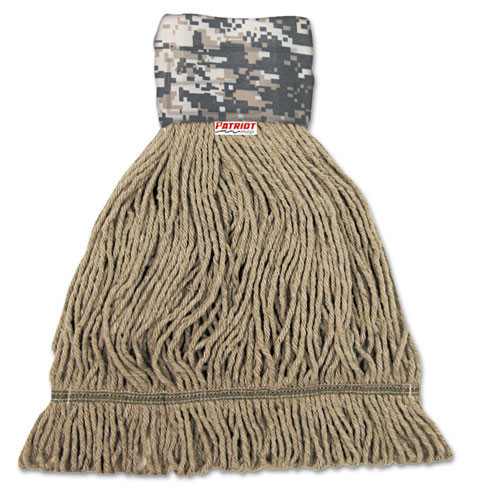 Boardwalk BWK8200M Patriot looped end wet mop heads medium green 5 inch headband case of 12