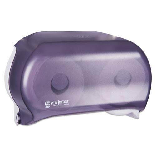 San Jamar SJMR3600TBK Versatwin standard roll bathroom tissue dispenser holds two rolls black plastic