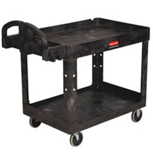 Rubbermaid 452010bla heavy duty utility cart with pneumatic casters 44x25.25x37.125 500 lbs. black