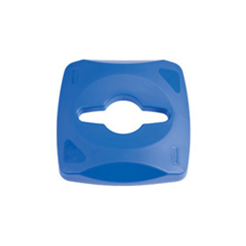 Rubbermaid 1788374 Untouchable square recycling lid with single stream opening for paper bottles and cans for Untouchable square recycling containers sold separately blue