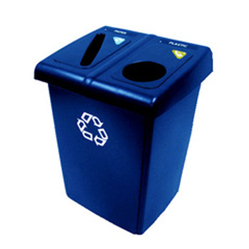 Rubbermaid 1792339 Glutton recycling station with 2 streams contains item specific tops symbol label pack and two Slim Jim containers 46 gallon total capacity 26.8x24x35.3