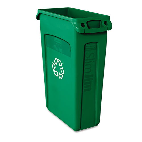 Rubbermaid 354007gre Slim Jim recycling container with venting channels 23 gallon green replaces rcp354007gre rcp354007gn