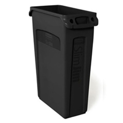 Rubbermaid 354060bla Slim Jim trash can 23 gallon container with venting channels black replaces rcp354060bla rcp354060bk