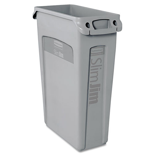 Rubbermaid 354060gra Slim Jim trash can 23 gallon container with venting channels gray replaces rcp354060gra rcp354060gy
