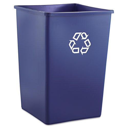 Rubbermaid 395873blu Glutton square recycling container 35 gallon blue