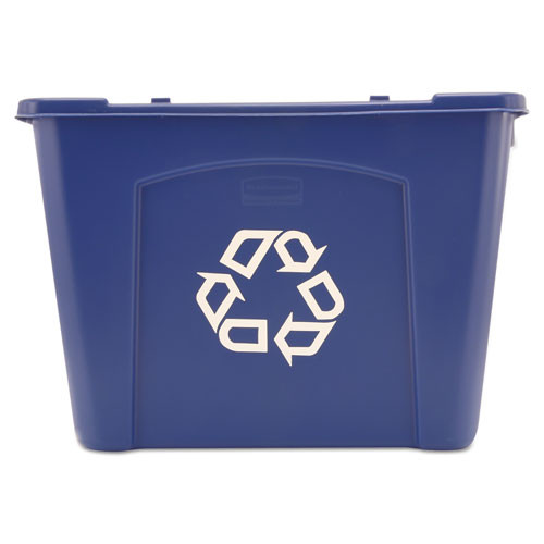 Rubbermaid 571473blu recycling box stackable with carrying handles 14 gallon blue replaces rcp571473blu rcp571473be