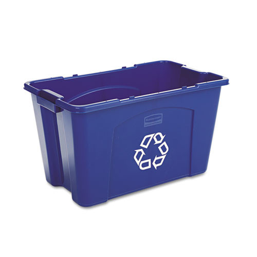 Rubbermaid 571873blu recycling box stackable with carrying handles 18 gallon blue replaces rcp571873blu rcp571873be