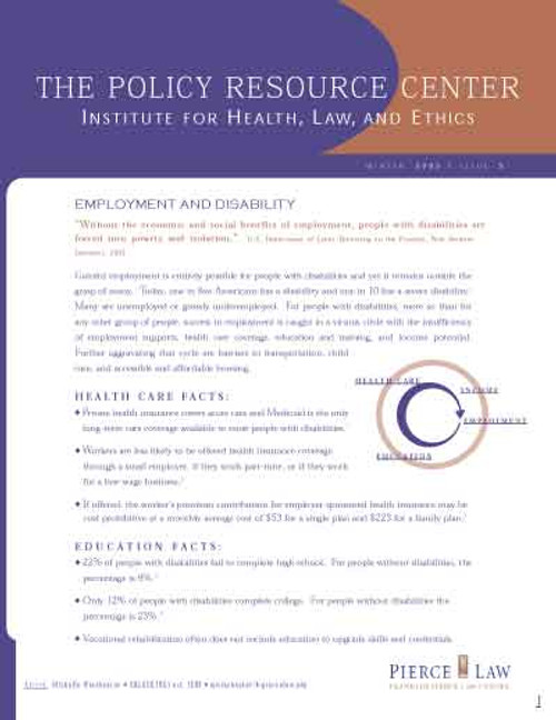The Policy Resource Center: Employment and Disability, Issue 5