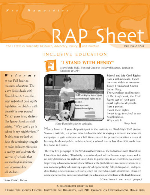NH RAP Sheet Fall 2012: Inclusive Education