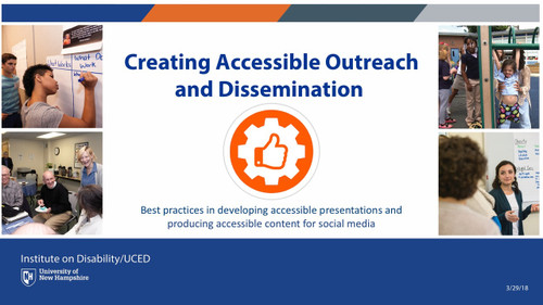 Creating Accessible Outreach and Dissemination intro slide, visual fluff