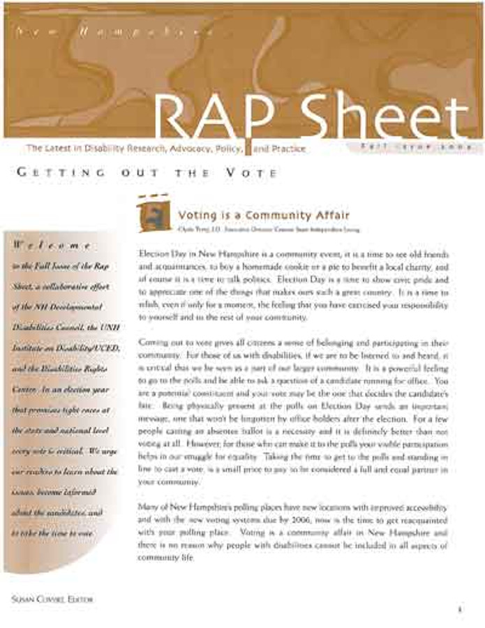 NH RAP Sheet Fall 2004: Getting Out the Vote