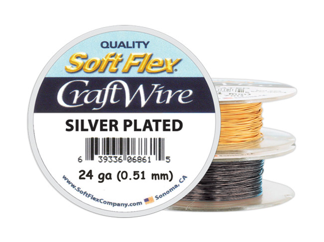Soft Flex Craft Wire Silver Plated - 24ga/.511mm - 60 ft/20 yd/18 m