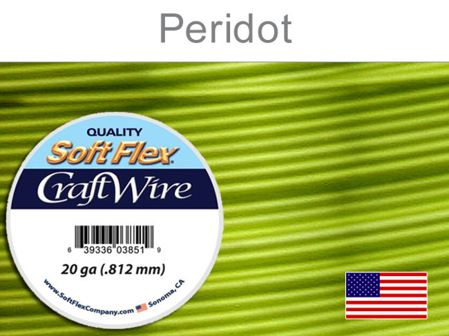 25 Ft 20 Ga Silver Plated Peridot Soft Flex Craft Wire