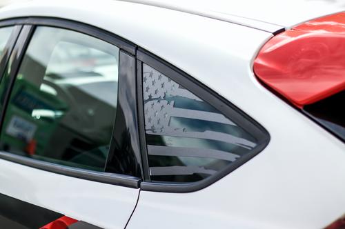 Distressed Flag Quarter Window Decal (2015-2018 Focus ST)
