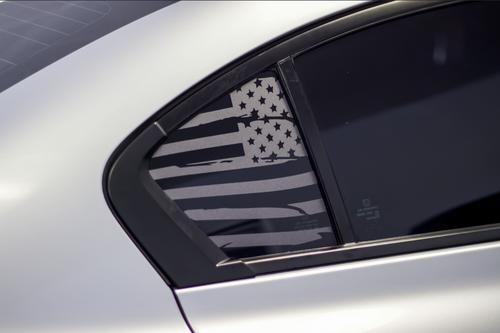 Distressed American Flag Quarter Window Decal Set (2013-2015 Civic Sedan)