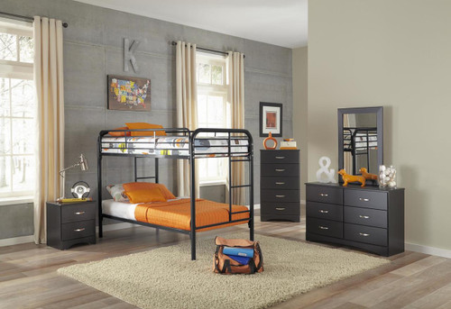 Twin/Twin Black Bunk Bed