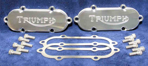 TRIUMPH T140 PAIR ROCKER BOX COVERS KIT BY E.S.L. 6 HOLES