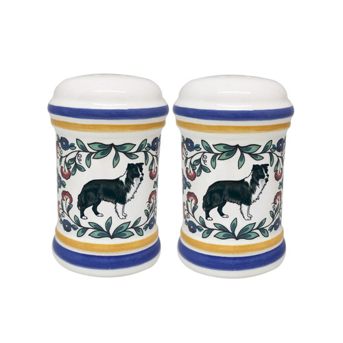 Black and white Border Collie salt and pepper shaker set handmade by shepherds-grove.com