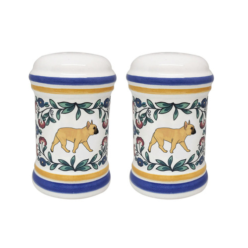 Fawn with dark faced French Bulldog salt and pepper shaker set - handmade by shepherds-grove.com