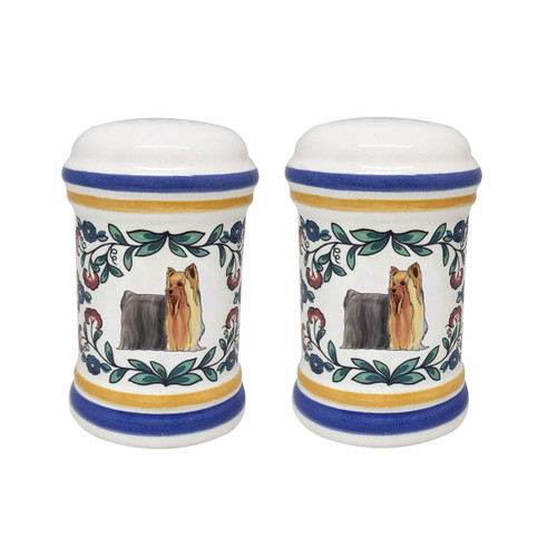 Yorkshire Terrier show-cut salt and pepper shaker set - handmade by shepherds-grove.com