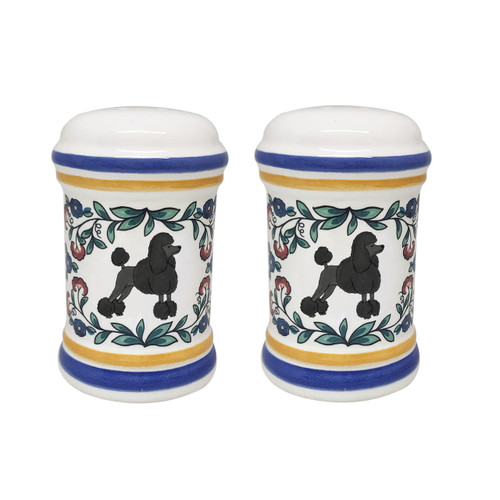 Black Poodle with show cut salt and pepper shaker set - handmade by shepherds-grove.com