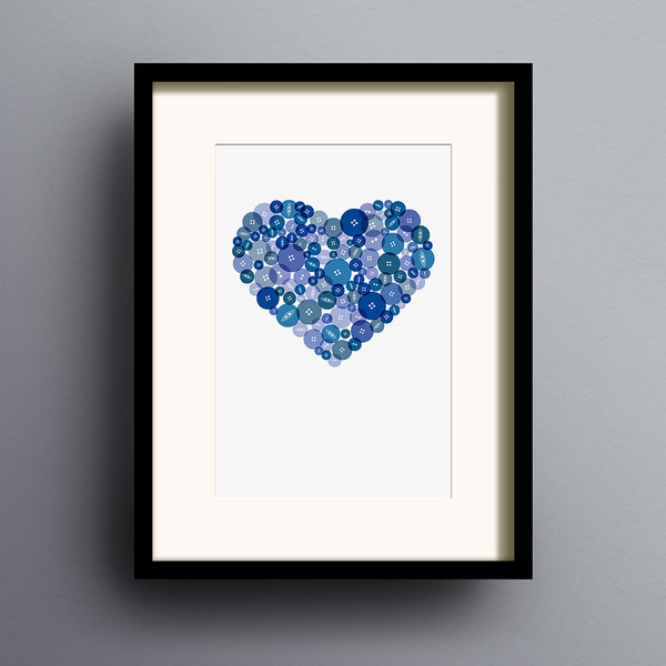 Button Heart in Blue print by Dig The Earth